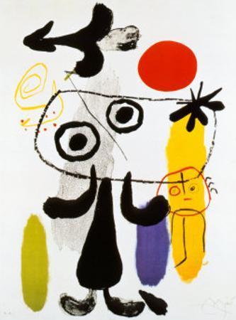 Figur Gegen Rote Sonne II, c. 1950 by Joan Mir?