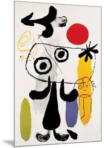 Figur Gegen Rote Sonne II, c. 1950 by Joan Miro