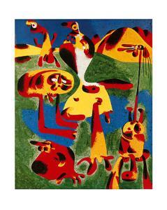 Personnages et Montagnes, c.1936 by Joan Miro