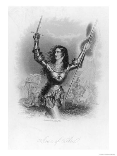 Joan of Arc French Heroine in Armour on the Battlefield-Jc Buttre-Giclee Print