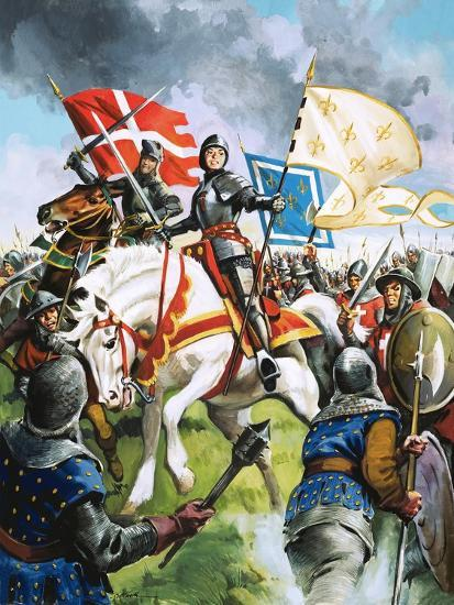 Joan of Arc Marches Against the English-G. Hireth-Giclee Print