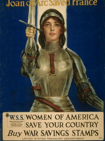 Joan of Arc Saved France, Women of America Save Your Country, WWI Poster-William Haskell Coffin-Giclee Print