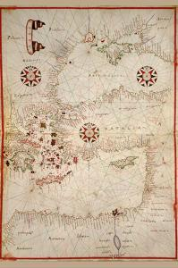 Portolan Map of Turkey, Mediterranean, Adriatic and the Agean by Joan Oliva