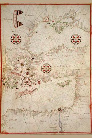 Portolan Map of Turkey, Mediterranean, Adriatic and the Agean
