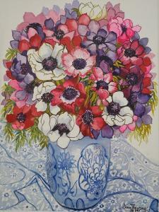 Anemones in a Blue and White Pot, with Blue and White Textile by Joan Thewsey