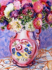 Asters in a Pink Floral Victorian Jug, 2002 by Joan Thewsey