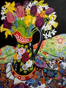 Canal Boat Jug, Daffodils and Tulips, 2005 by Joan Thewsey
