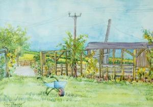 Cottage Garden with Wheelbarrow, 2011 by Joan Thewsey