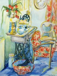 Cottage Interior, with Cat, 2000 by Joan Thewsey