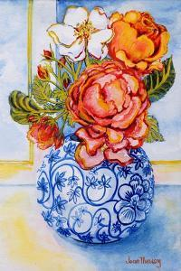 Cottage Roses, Round Blue and White Vase 2004 by Joan Thewsey
