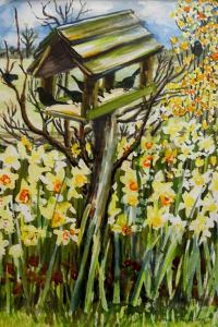 Daffodils, and Birds in the Birdhouse by Joan Thewsey