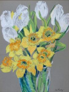 Daffodils and White Tulips, 2000 by Joan Thewsey