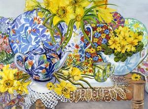 Daffodils, Antique Jugs, Plates, Textiles and Lace, 2012 by Joan Thewsey