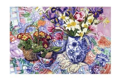 Daffodils, Tulips and Iris in a Jacobean Blue and White Jug with Sanderson Fabric and Primroses,… by Joan Thewsey