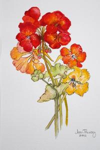 Geranium and Nasturtiums, 2014 by Joan Thewsey