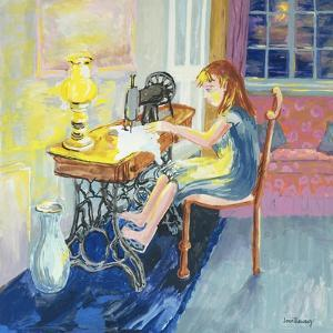 Girl Sewing, 2000 by Joan Thewsey