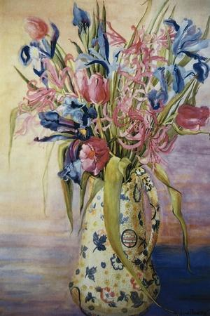 Iris, Tulips and Pink Spider Lilies in a Japanese Jug
