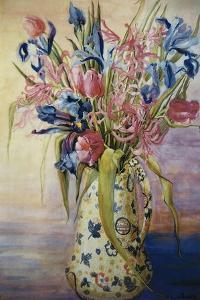 Iris, Tulips and Pink Spider Lilies in a Japanese Jug by Joan Thewsey