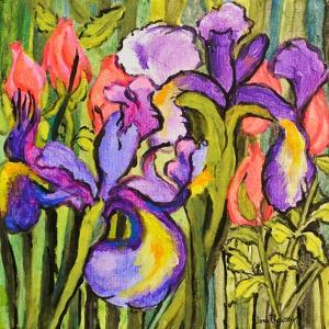 Irises And Roses by Joan Thewsey