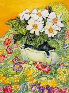 Pale Primrose in a Pot with Spring-Flowered Textile, 2000 by Joan Thewsey