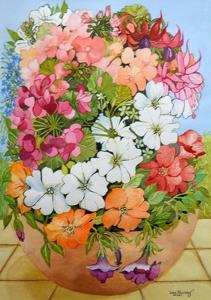 Petunias, Geraniums and Fuchsias by Joan Thewsey