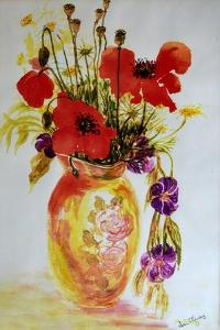 Poppies in a Vase,2000 by Joan Thewsey