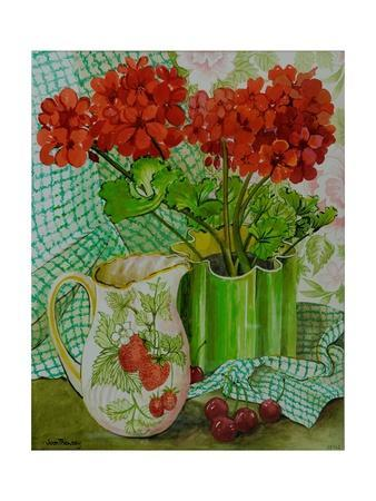 Red Geranium with the Strawberry Jug and Cherries
