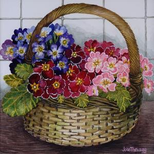 Red Mauve and Pink Primroses in a Basket, 2012 by Joan Thewsey