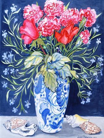 Roses, Carnations and Lobelia in a Blue and White Vase,3 Shells Textiles 2011