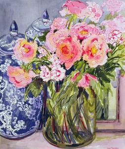 Still Life with Two Blue Ginger Jars by Joan Thewsey