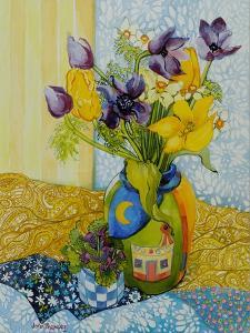 Tulips and Anemones with a Pot of Violets, 2010 by Joan Thewsey