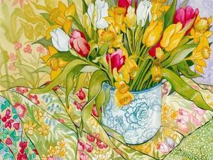 Tulips and Daffodils with Patterned Textiles, 2000 by Joan Thewsey