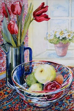 Tulips in a Jug,With a Glass Bowl 2003 by Joan Thewsey