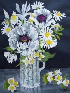 White Poppies, Marguerites and Philadelphus by Joan Thewsey