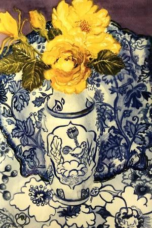 Yellow Roses in a Blue and White Vase with Patterned Blue and White Textiles