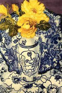 Yellow Roses in a Blue and White Vase with Patterned Blue and White Textiles by Joan Thewsey