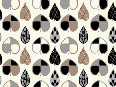 Organic Leaves Blk and Wht by Joanne Paynter Design