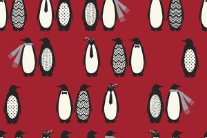 Penguin Parade Red by Joanne Paynter Design