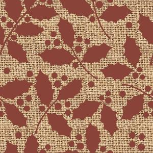 Red Holly Branches Burlap by Joanne Paynter Design