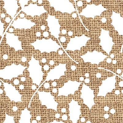 White Holly Branches Burlap by Joanne Paynter Design