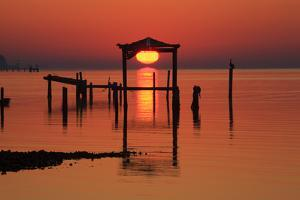 Florida, Apalachicola, Old Boat House at Sunrise on Apalachicola Bay by Joanne Wells