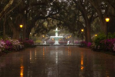 Forsyth Park Fountain with Spring Azaleas, Savannah, Georgia, USA