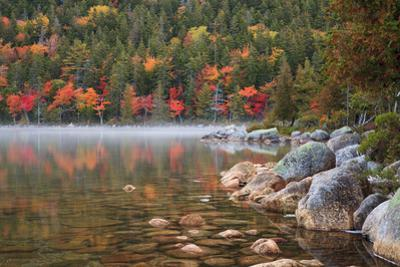 Maine, Acadia National Park, Fall Reflections with Fog at Jordon Pond