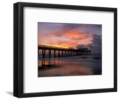 Pier at Sunrise with Reflections of Clouds on Beach, Tybee Island, Georgia, USA