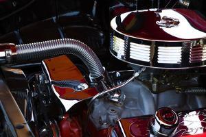 USA, Georgia, Savannah, Engine of a Car in Car Show by Joanne Wells