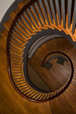 USA, Kentucky, Pleasant Hill, Spiral Staircase at the Shaker Village