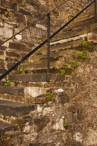 USA, Savannah, Georgia. Steps made from ballast stones along River Street. by Joanne Wells