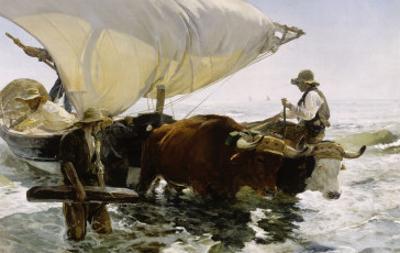 Retour de pêche, halage de la barque by Joaqu?n Sorolla y Bastida