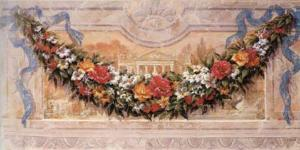 Fresco with Floral Garland by Joaquin Moragues