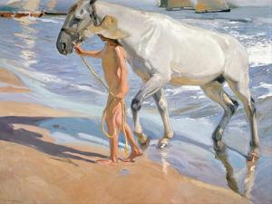 Bathing of a Horse. 1909 by Joaquin Sorolla